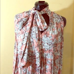 Umgee large floral dress tie neck